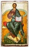 икона правоверная Христос Enthroned, XV век стоковые фотографии rf