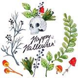 Иллюстрация акварели вектора на счастливый хеллоуин иллюстрация вектора