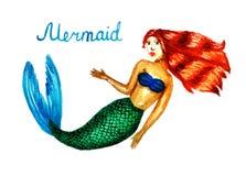 Иллюстрация акварели русалки, девушки с кабелем рыб стоковая фотография