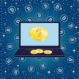 Иллюстрация вектора, голубого цвета, доллара и концепци-ноутбука bitcoin и извлечения цифровых денег вектор стоковое фото