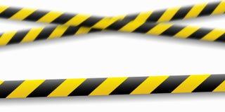 Иллюстрация вектора линии внимания Ленты желтой черной полиции предупреждающие, ограждая знак опасности Не пересеките иллюстрация вектора