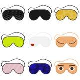 Иллюстрация вектора маски сна глаза Объект сна вспомогательный Установите маск сна изолированная иллюстрация руки кнопки нажимающ иллюстрация штока