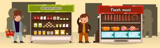 Иллюстрация вектора, покупатели делает приобретение в магазине Полки супермаркета с мясными продуктами, бакалеями Мясо иллюстрация штока
