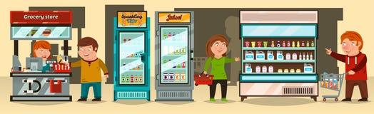 Иллюстрация вектора, покупатели делает приобретение на супермаркете Кассир, продукты полки супермаркета, витрины иллюстрация штока