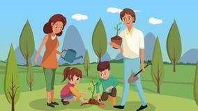 Иллюстрация вектора семьи засаживая деревья бесплатная иллюстрация