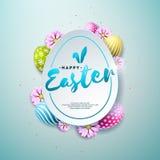 Иллюстрация вектора счастливого праздника пасхи с цветком покрашенным и весной на сияющей голубой предпосылке международно иллюстрация вектора