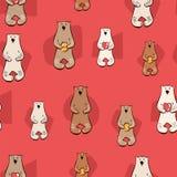 Иллюстрация вектора с картиной стильного мультфильма безшовной Медведь с медом, сердцами краснокоричневая белая печать стиля dood иллюстрация вектора