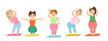 Иллюстрация вектора установила милых полных дам делая спорт, плюс женщины размера делая тренировку фитнеса Жирные curvy женщины иллюстрация вектора