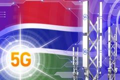 Иллюстрация Гамбии 5G промышленная, большой клетчатый рангоут сети или башня на цифровой предпосылке с флагом - иллюстрации 3D бесплатная иллюстрация