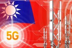 Иллюстрация китайской провинции Тайвань 5G промышленная, большой клетчатый рангоут сети или башня на современной предпосылке с фл иллюстрация штока
