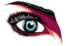 Иллюстрация красочного пурпурного глаза женщины s иллюстрация вектора