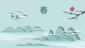 Иллюстрация ландшафта весны пейзажной живописи бумаг-отрезка китайского стиля китайская бесплатная иллюстрация