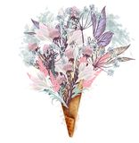 Иллюстрация моды, печать для футболки с мороженым от цветков