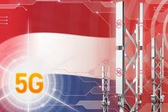 Иллюстрация Нидерланд 5G промышленная, большой клетчатый рангоут сети или башня на современной предпосылке с флагом - иллюстрации иллюстрация штока