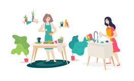 Иллюстрация девушек в кухне вектор Плоский стиль Жена подготавливает дома Онлайн варя курсы Домохозяйка моет иллюстрация штока