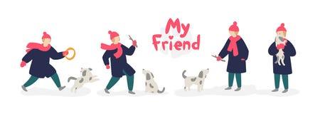 Иллюстрация девушки играя с собакой вектор Подросток девушки в пальто и шляпе, с бездомной серой собакой Плоский стиль шаржа бесплатная иллюстрация