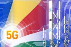 Иллюстрация Сейшельских островов 5G промышленная, большой клетчатый рангоут сети или башня на цифровой предпосылке с флагом - илл иллюстрация штока