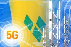 Иллюстрация Сент-Винсент и Гренадины 5G промышленная, большой клетчатый рангоут сети или башня на современной предпосылке с бесплатная иллюстрация