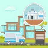 Иллюстрация системы фильтрации воды дома плоская бесплатная иллюстрация