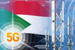 Иллюстрация Судана 5G промышленная, большой клетчатый рангоут сети или башня на современной предпосылке с флагом - иллюстрации 3D иллюстрация штока