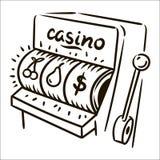 Иллюстрация эскиза вычерченного казино руки вектора простая на белой предпосылке иллюстрация вектора