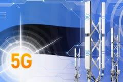 Иллюстрация Эстонии 5G промышленная, большой клетчатый рангоут сети или башня на цифровой предпосылке с флагом - иллюстрации 3D бесплатная иллюстрация