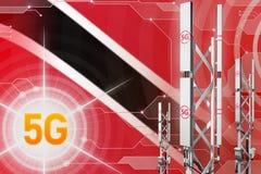 Иллюстрация Тринидад и Тобаго 5G промышленная, большой клетчатый рангоут сети или башня на предпосылке с флагом - 3D hi-техника бесплатная иллюстрация