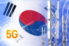 Иллюстрация Республики Корея Южной Кореи 5G промышленная, большой клетчатый рангоут сети или башня на современной предпосылке с бесплатная иллюстрация