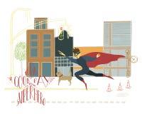 Иллюстрация руки вычерченная с литерностью и чертежом Супергерой в предпосылке города иллюстрация вектора