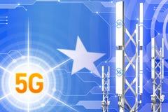 Иллюстрация Сомали 5G промышленная, огромный клетчатый рангоут сети или башня на предпосылке с флагом - hi-техника иллюстрации 3D иллюстрация штока