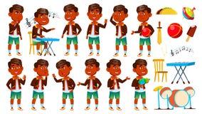 Индийский ребенк детского сада мальчика представляет установленный вектор preschool Молодой человек жизнерадостно Для сети, брошю иллюстрация штока