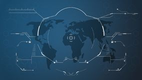Интерфейс hud цифров и карта мира иллюстрация вектора