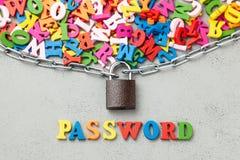 Информация защищенный пароль Запертые письма символа информации в оболочке в цепном и, который стоковое изображение rf