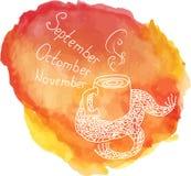 Искусство, осень, предпосылка помарки акварели, бесплатная иллюстрация