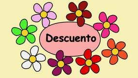 Испанская реклама видео- 4k со скидкой надписи Цветки летая вокруг скидки текста