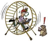 Исполнительный человек работая внутри работы колеса хомяка иллюстрация вектора