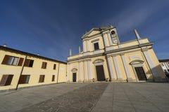 Историческая церковь Casaletto Lodigiano, Италии стоковые изображения rf