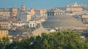 Италия rome Горизонт городского пейзажа с пантеоном и другие известные ориентиры в старом историческом городе видеоматериал
