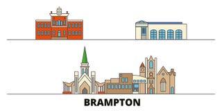 Канада, иллюстрация вектора ориентиров Brampton плоская Канада, линия город с известными видимостями перемещения, горизонт Brampt иллюстрация штока