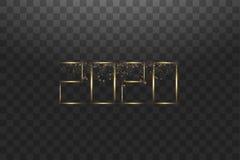 Канун Нового Года 2020 NYE С Новым Годом! поздравительная открытка 2020 зимних отдыхов с часами изолированными на черное прозрачн иллюстрация штока