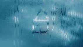 Капая конденсация на ясном стеклянном окне Падения воды абстрактным текстура графиков предпосылки произведенная компьютером Детал стоковые изображения