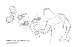 Капсула витамина пищевой добавки занимаясь культуризмом Технология нововведения химии науки медицины лекарства формы фитнеса иллюстрация штока