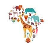 Карта Африки проиллюстрированная со значками животных, племенными символами вектор техника eps конструкции 10 предпосылок иллюстрация штока