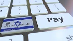 Карта банка отличая флагом Израиля как ключ на клавиатуре компьютера Анимация израильского онлайн-платежа схематическая иллюстрация вектора