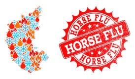 Карта коллажа государства Karnataka пламени и снежинок и уплотнения лошади текстурированного гриппом иллюстрация штока