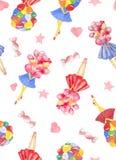 Картина акварели безшовная с букетом удерживания девушки красочного воздушного шара иллюстрация вектора