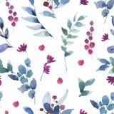Картина акварели винтажная безшовная с ягодами, Wildflowers, зелеными листьями иллюстрация вектора