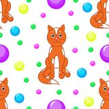 картина безшовная Коты и пестротканые шарики иллюстрация вектора