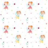 Картина вектора безшовная с милыми маленькими феями иллюстрация штока