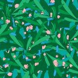 Картина красивой травы весны безшовная иллюстрация вектора